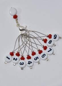 Stich marker set with numbers - Red & silver