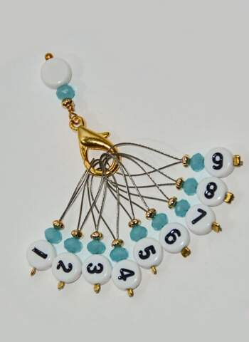 Stich marker set with numbers - Turquoise & gold