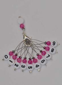 Stich marker set with numbers - Pink & silver
