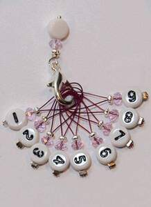 Stich marker set with numbers - Purple & silver